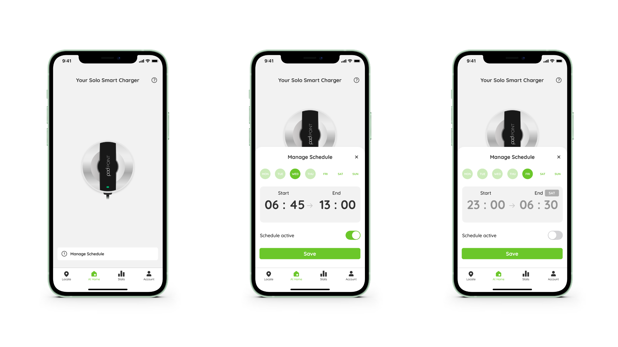 Pod Point App screenshots of Charge Scheduling feature